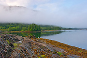 Fog on bay from  Kaien Island Lookout, , British Columbia, Canada