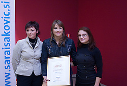 Sara Isakovic gets a Sporto conference award from Maja Makovec Brencic (left) at press conference when she has signed a contract with SI Sport, on December 22, 2008, Grand hotel Union, Ljubljana, Slovenia. (Photo by Vid Ponikvar / SportIda).