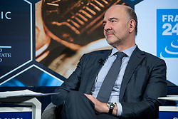 """Handout - Pierre Moscovici, Commissioner for Economic and Financial Affairs, Taxation and Customs, European Commission, Brussels during the Session """"Beyond the Paradise Papers: Can Global Tax Avoidance Be Stopped"""" at the Annual Meeting 2018 of the World Economic Forum in Davos, January 25, 2018. Photo by Boris Baldinger/World Economic Forum via ABACAPRESS.COM"""