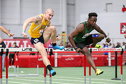 hurdles final, Ibrahim, Marshall, Jared, Southern Maine, <br /> BU John Terrier Classic <br /> Indoor Track & Field Meet <br /> day 2