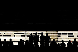 Silhouetted Middlesbrough fans look on as their team take on Aston Villa in the first leg of the Sky Bet Championship playoff semi-final - Mandatory by-line: Robbie Stephenson/JMP - 12/05/2018 - FOOTBALL - Riverside Stadium - Middlesbrough, England - Middlesbrough v Aston Villa - Sky Bet Championship