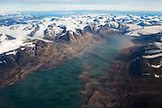 Paulabreen glacier flowing into Rindersbukta fjord in Spitsbergen, Svalbard.
