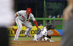 August 31, 2017 - Miami, FL, USA - Miami Marlins second baseman Dee Gordon, right, caught stealing second base by Philadelphia Phillies second baseman Cesar Hernandez during the first inning at Marlins Park in Miami on Thursday, Aug. 31, 2017. The Phillies won, 3-2. (Credit Image: © David Santiago/TNS via ZUMA Wire)
