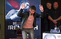 May 3, 2018 - London, London, United Kingdom - Bellew vs David Haye press conference. ..Actor James Buckley from The Inbetweeners, gatecrashed the final press conference ahead ofÊDavid Haye's rematch withÊTony Bellew....Tony Bellew vs David Haye press conference at Park Plaza hotel. (Credit Image: © Gustavo Valiente/i-Images via ZUMA Press)
