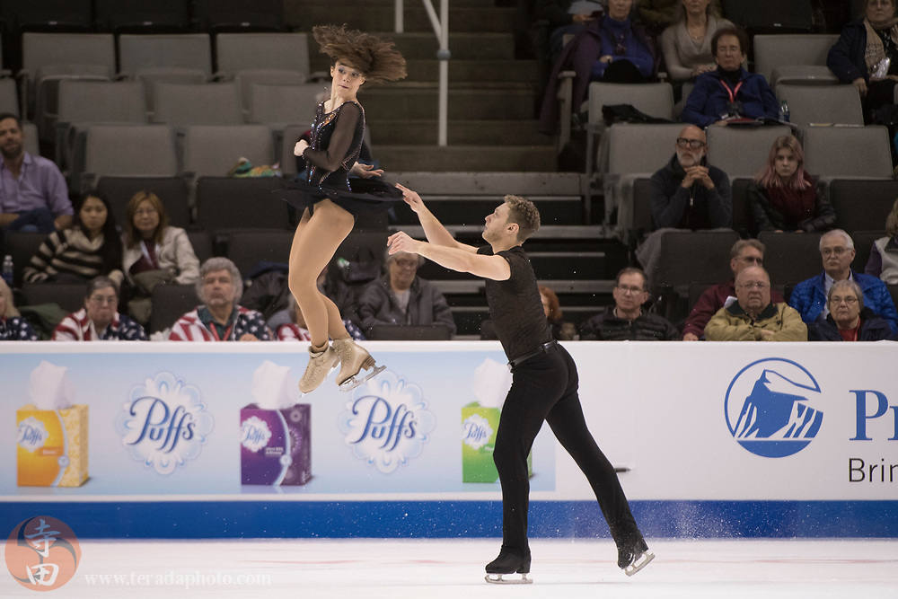 January 4, 2018; San Jose, CA, USA; Allison Timlen and Justin Highgate-Brutman performs in the pairs short program during the 2018 U.S. Figure Skating Championships at SAP Center.