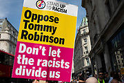 Demonstrators gather to oppose the Free Tommy Robinson demonstration, organised by anti-fascist groups including Stand up to Racism opposed to far right politics on 24th August 2019 in London, United Kingdom. Some 250 Stand Up To Racism and other anti-fascist groups took to the streets today in opposition to supporters of jailed 'Tommy Robinson' real name Stephen Yaxley-Lennon at Oxford Circus, who gathered outside the BBC.