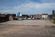 Empty / blank billboards due to a lack of advertising spend have become a common sight under lockdown as seen here in Digbeth, as have the empty expanses on unused car park space on 15th April 2020 in Birmingham, England, United Kingdom. Coronavirus or Covid-19 is a new respiratory illness that has not previously been seen in humans. While much or Europe has been placed into lockdown, the UK government has put in place more stringent rules as part of their long term strategy, and in particular social distancing.
