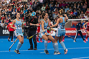 Julieta Jankunas of Argentina Women celebrates scoring in the shoot out to score during the 2019 Women's FIH Pro League match at Lee Valley Hockey Centre, Stratford<br /> Picture by Simon Parker/Focus Images Ltd <br /> 18/05/2019