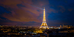 Eiffel Tower light show from 16th Arrondisement, Paris, France. 09/05/14. Photo by Andrew Tallon