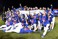CHICAGO, IL - OCTOBER 22: The Chicago Cubs pose for a celebratory team photo after the Cubs defeated the Los Angeles Dodgers in Game 6 of the NLCS at Wrigley Field on Saturday, October 22, 2016 in Chicago, Illinois. (Photo by Ron Vesely/MLB Photos via Getty Images)