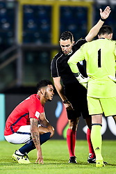 October 5, 2017 - San Marino, SAN MARINO - 171005 Joshua King of Norway and referee Andrew Dallas of Scotland during the FIFA World Cup Qualifier match between San Marino and Norway on October 5, 2017 in San Marino. .Photo: Fredrik Varfjell / BILDBYRN / kod FV / 150027 (Credit Image: © Fredrik Varfjell/Bildbyran via ZUMA Wire)