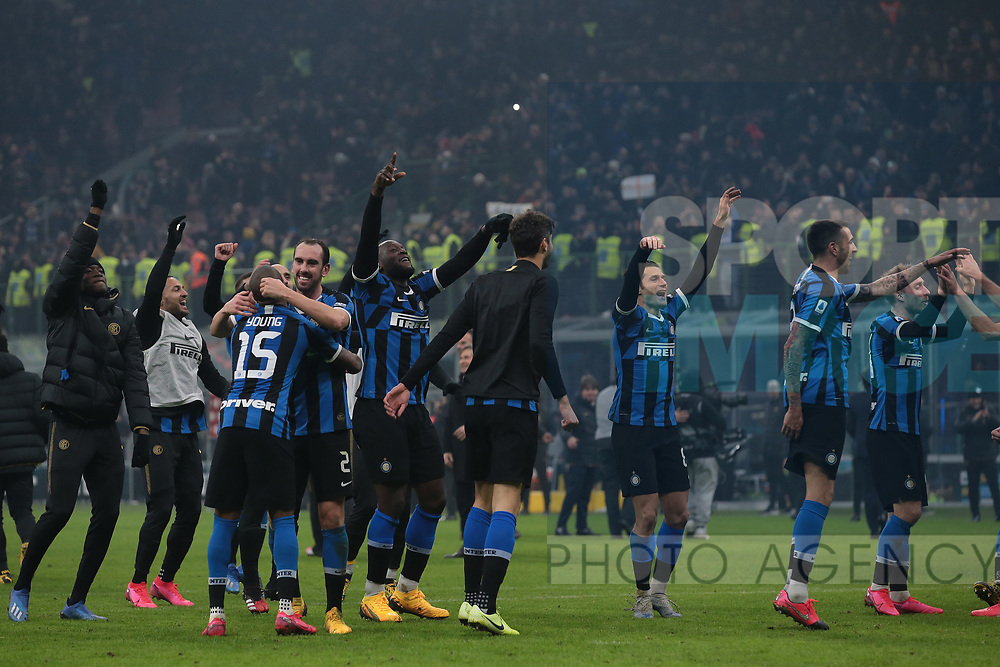 Inter players celebrate after the final whistle of the Serie A match at Giuseppe Meazza, Milan. Picture date: 9th February 2020. Picture credit should read: Jonathan Moscrop/Sportimage