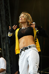 Fergie, of The Black Eyed Peas, performs on the main stage at T in the Park 2004..Pic ©2010 Michael Schofield. All Rights Reserved.