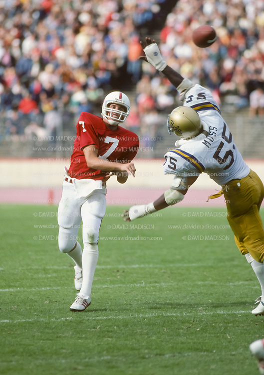 PALO ALTO, CA - OCTOBER 1981:  Quarterback John Elway of Stanford University plays in an NCAA football game against UCLA  on October 10, 1981 at Stanford Stadium in Palo Alto, California.  Photo by David Madison   www.davidmadison.com