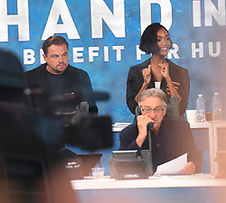 "Celebrities at the ""Hand to hand"" telethon in Times square, New York City. 12 Sep 2017 Pictured: Leonardo DiCaprio, Jourdan Dunn. Photo credit: MEGA TheMegaAgency.com +1 888 505 6342"