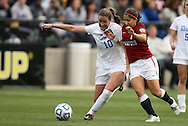 04 December 2011: Duke's Nicole Lipp (10) and Stanford's Teresa Noyola (7). The Stanford University Cardinal defeated the Duke University Blue Devils 1-0 at KSU Soccer Stadium in Kennesaw, Georgia in the NCAA Division I Women's Soccer College Cup Final.