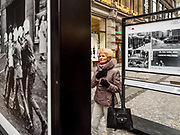 Outdoor exhibition about the 1989 Velvet Revolution in the city center of Prague.