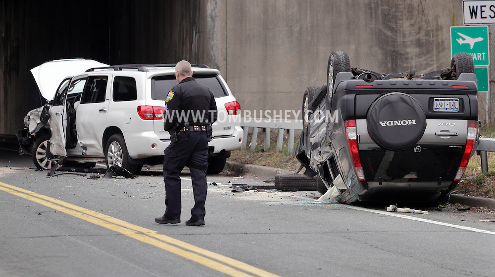 New Windsor, New York  - Police at the scene of a rollover motor vehicle accident on Route 207 on Feb. 18, 2012.