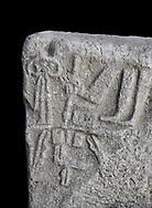 Hittite Hieroglyphic panel from Hittite capital Hattusa, Hittite New Kingdom 1450-1200 BC, Bogazkale archaeological Museum, Turkey. Black background