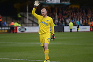 Goalkeeper Aaron McCarey of Portsmouth looks on. . Skybet football league two match, Cambridge Utd v Portsmouth at the Abbey Stadium  in Cambridge on Saturday 10th October 2015.<br /> pic by John Patrick Fletcher, Andrew Orchard sports photography.