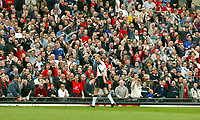 Liverpool's Sami Hyypia walks off after being showen the red card against Manchester United during the Premiership match at Old Trafford, Manchester, Saturday, March 5th, 2003.<br /><br />Pic by David Rawcliffe/Propaganda<br /><br />Any problems call David Rawcliffe +44(0)7973 14 2020 david@propaganda-photo.com http://www.propaganda-photo.com