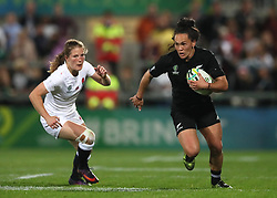 England's Lydia Thompson (left) and New Zealand's Portia Woodman during the 2017 Women's World Cup Final at the Kingspan Stadium, Belfast.