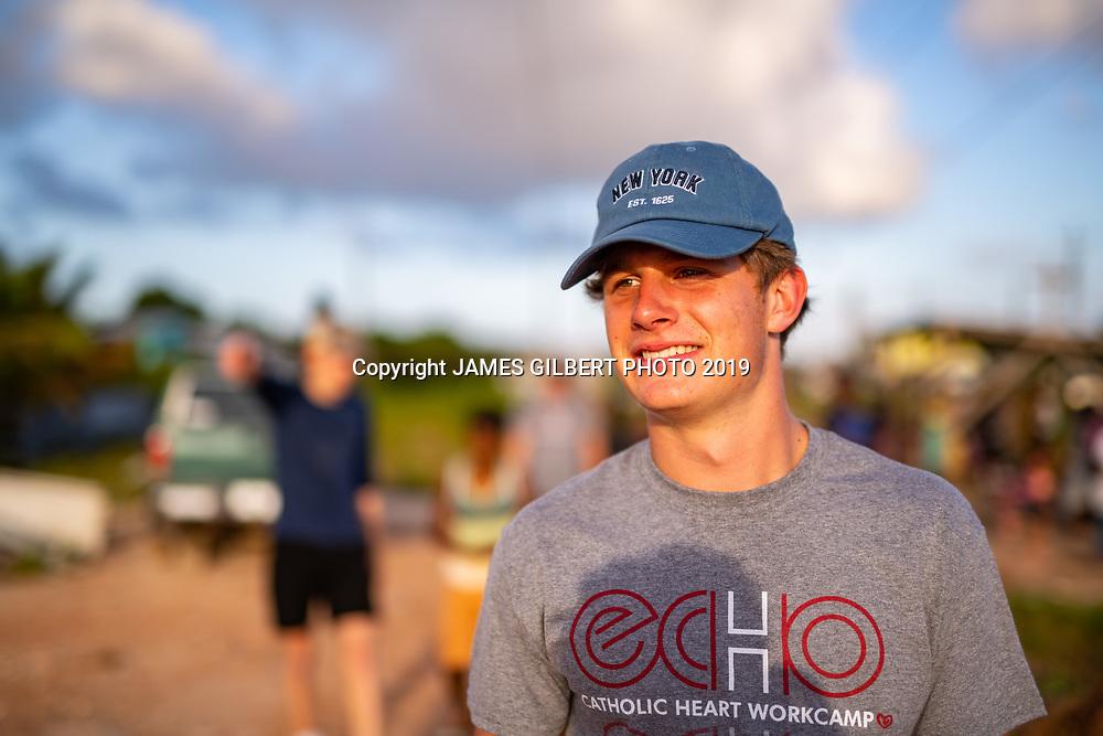 Dylan Thibault <br /> <br /> St Joe mission trip to Belize 2019. JAMES GILBERT PHOTO 2019