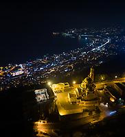 Aerial view of St Paul basilica illuminated at night, Harissa, Lebanon.l