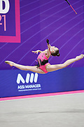 One of the finalist gymnasts at the Pesaro 2021 World Championships, the Bulgarian Stliana Nikolova. She is a young promise of rhythmic gymnastics born on August 22, 2005 in Cairo, Egypt.