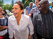 03 JULY 2019 - WEST DES MOINES, IOWA: US Senator KAMALA HARRIS, left, (D-CA)  greets people at the West Des Moines Democrats' annual 4th of July Picnic. Senator Harris attended the picnic to support her bid to be the Democratic nominee for the US presidency in 2020. Iowa hosts the first presidential selection event of the 2020 election cycle. The Iowa Caucuses are scheduled for Feb. 3, 2020.        PHOTO BY JACK KURTZ