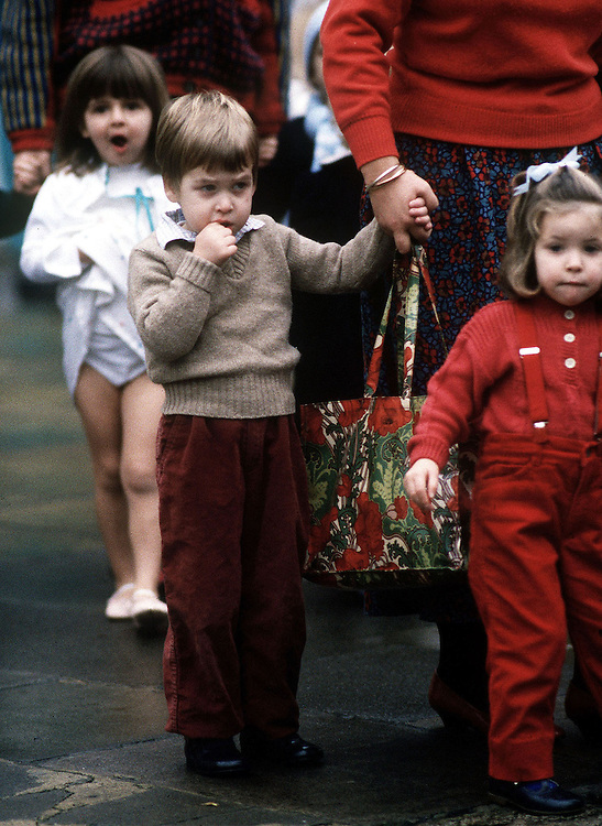 Prince William seen at his Montessori school 'Mrs Mynor's'in London, UK in1986.Photograph by Jayne Fincher