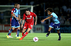 Lee Tomlin of Bristol City runs past Sido Jombati of Wycombe Wanderers - Mandatory by-line: Robbie Stephenson/JMP - 09/08/2016 - FOOTBALL - Adams Park - High Wycombe, England - Wycombe Wanderers v Bristol City - EFL League Cup