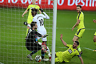 Tammy Abraham of Swansea city (10) scores his teams 1st goal past Notts county goalkeeper Adam Collin. The Emirates FA Cup, 4th round replay match, Swansea city v Notts County at the Liberty Stadium in Swansea, South Wales on Tuesday 6th February 2018.<br /> pic by  Andrew Orchard, Andrew Orchard sports photography.