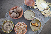 Staple foods of the traditional diet in the Altiplano region of Peru - potatoes,  barley grain, clay and cheese. The clay provides essential vitamins and minerals not available otherwise.