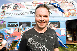 Pete Tong at the myspace bus.. Rockness, Saturday 7th June 2008..Pic © Michael Schofield. All Rights Reserved.