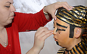 A boy of 10 dresses up as a Pharaoh