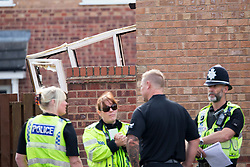 © Licensed to London News Pictures. 03/09/2017. York UK. Picture shows the house in York that suffered fire damage in York when a car crashed through the wall of a house on Rivelin Way. The car burst into flames setting the house alight. Four people have been injured three of them are serious including a man who was in the living room at the time of the incident & has suffered severe lower limb injuries. A woman & child who where in the house have escaped without injury. Photo credit: Andrew McCaren/LNP