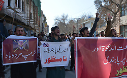 January 1, 2018 - Quetta, Balochistan, Pakistan - Supporters of Difa-e-Pakistan Council held a protest against US and Indian Government for banning Jamaat-ud Dawa in Quetta. (Credit Image: © Muhammad Arshad/Pacific Press via ZUMA Wire)