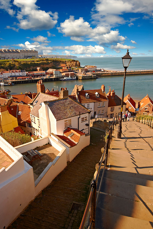 199 steps overlooking Whitby harbour. North Yorkshire, England .<br /> <br /> Visit our ENGLAND PHOTO COLLECTIONS for more photos to download or buy as wall art prints https://funkystock.photoshelter.com/gallery-collection/Pictures-Images-of-England-Photos-of-English-Historic-Landmark-Sites/C0000SnAAiGINuEQ