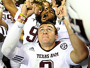TUSCALOOSA, AL - NOVEMBER 10:  Quarterback Johnny Manziel #2 of the Texas A&M Aggies celebrates after the game against the Alabama Crimson Tide at Bryant-Denny Stadium on November 10, 2012 in Tuscaloosa, Alabama.  The Aggies beat the Crimson Tide 29-24.  (Photo by Mike Zarrilli/Getty Images)