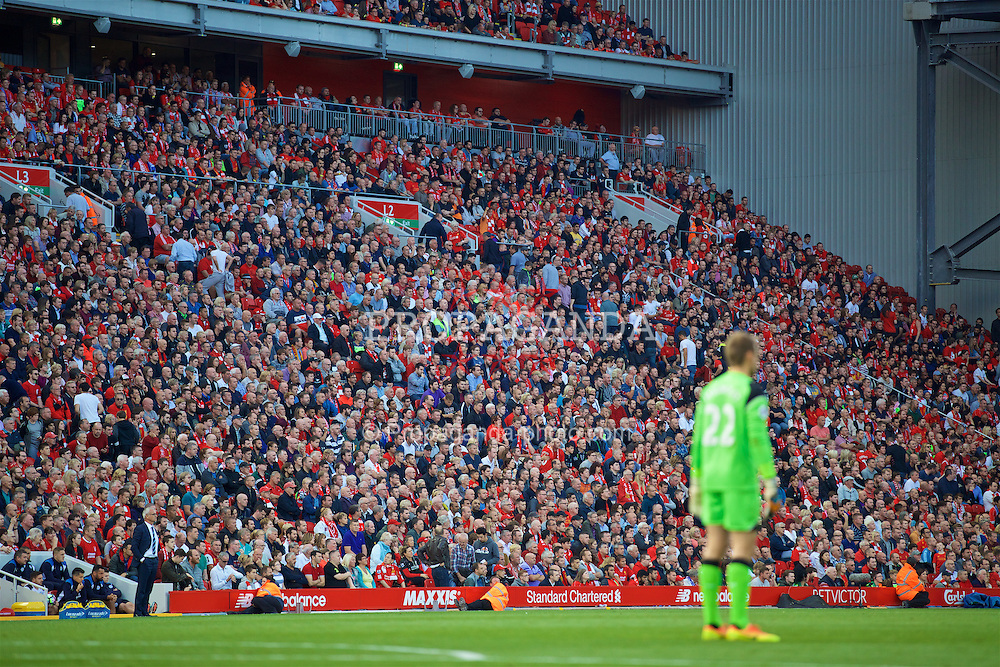 LIVERPOOL, ENGLAND - Saturday, September 10, 2016: Liverpool supporters head for the exits before half-time during the FA Premier League match against Leicester City at Anfield. (Pic by David Rawcliffe/Propaganda)