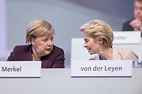 22 NOV 2019, LEIPZIG/GERMANY:<br /> Angela Merkel (L), CDU, Bundeskanzlerin, und Ursula von der Leyen (R), CDU, gewaehlte Praesidentin der Europaeischen Kommission, im Gespraech, CDU Bundesparteitag, CCL Leipzig<br /> IMAGE: 20191122-01-015<br /> KEYWORDS: Parteitag, party congress, Gespräch