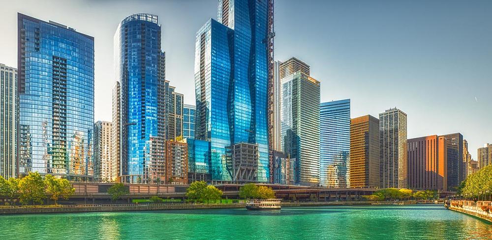 Chicago Architecture. Buildings and interiors. Digital photography. Exterior Architectural Photography. Buildings, locations, architecture. Chicago, Illinois, built landscape,