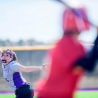Miyamura Patriot Katlyn Silva (6) winds a pitch to an Española Valley Sundevil at Miyamura High School in Gallup Thursday.