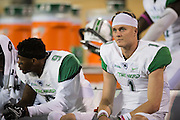 Marshall Thundering Herd quarterback Chase Litton (1) looks on from the bench against the North Texas Mean Green during the 2nd half at Apogee Stadium in Denton, Texas on October 8, 2016. (Cooper Neill for The Herald-Dispatch)