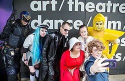 August 2, 2017 - London, United Kingdom - Fans in costumes take a selfie outside the Barbican. Into the Unknown at the Barbican. (Credit Image: © Mark Thomas/i-Images via ZUMA Press)