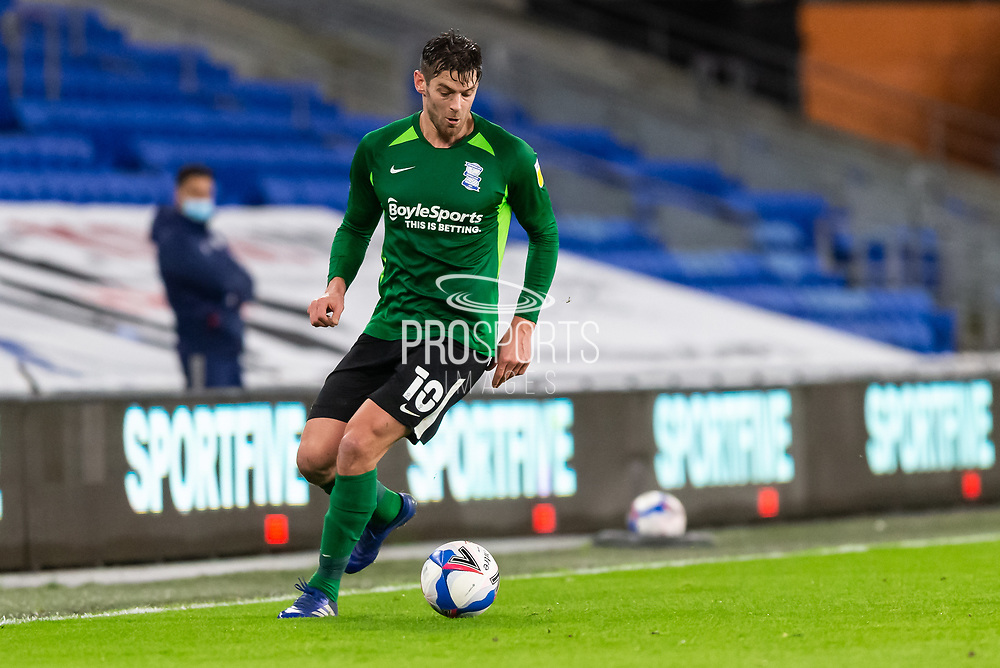 Birmingham City's Lukas Jutkiewicz (10) in action during the EFL Sky Bet Championship match between Cardiff City and Birmingham City at the Cardiff City Stadium, Cardiff, Wales on 16 December 2020.