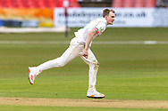 Alex Evans during Day 2 of the LV= Insurance County Championship match between Leicestershire County Cricket Club and Hampshire County Cricket Club at the Uptonsteel County Ground, Leicester, United Kingdom on 9 April 2021.