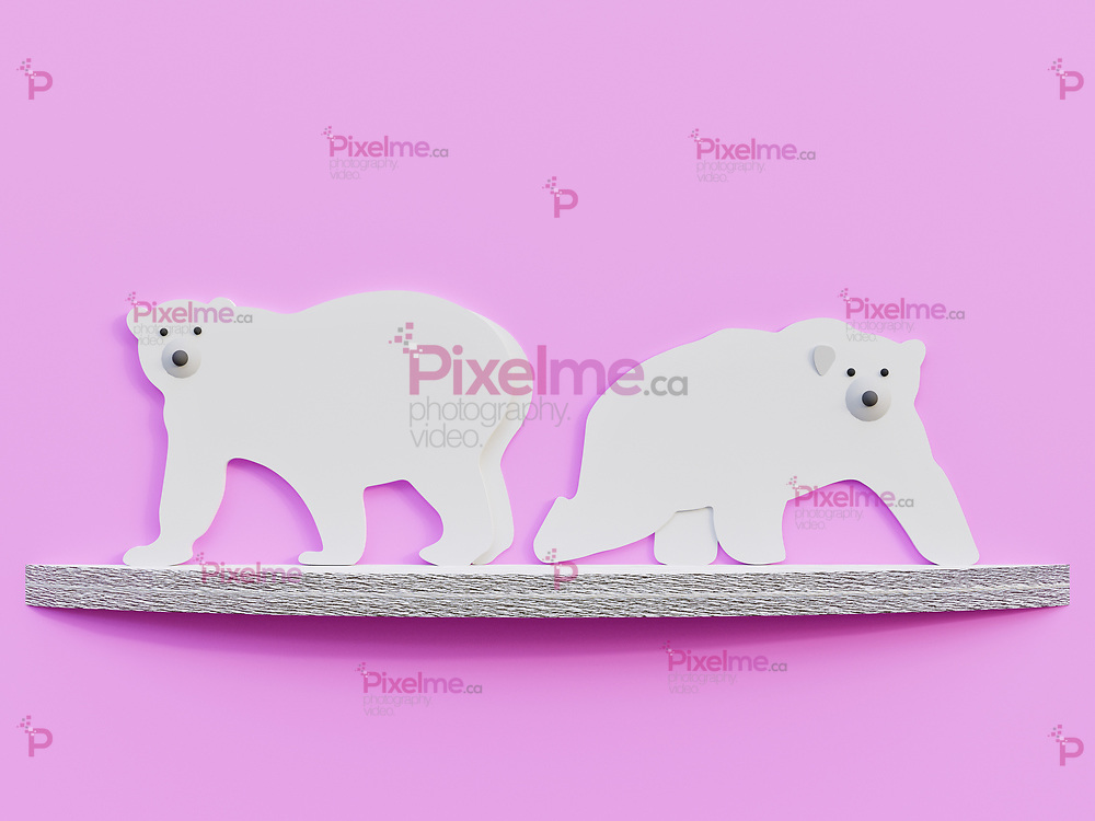 Polar Bears over an melting ice cap cut paper art minimalist concept - 3D Rendering Concept