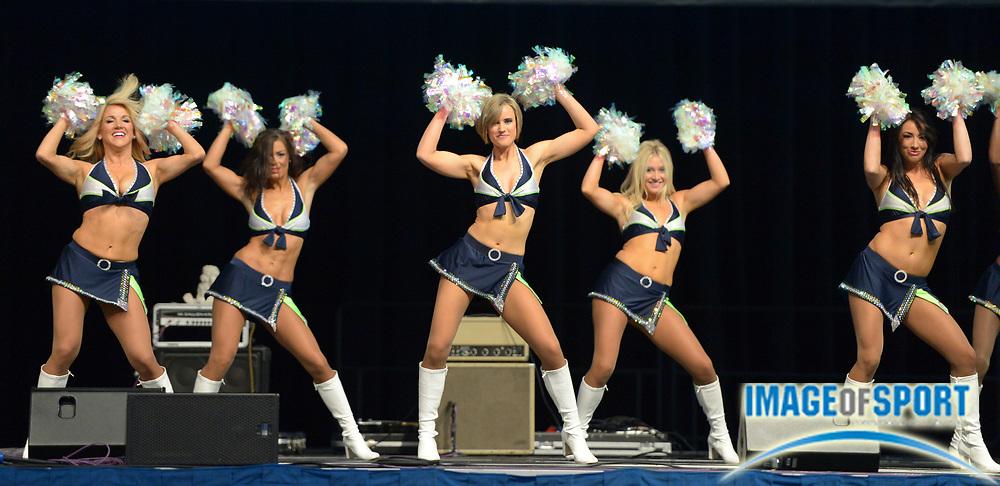 Sep 22, 2013; Seattle, WA, USA; Seattle Seahawks sea gals cheerleaders perform before the game against the Jacksonville Jaguars at CenturyLink Field.